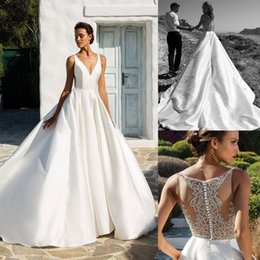 Designer Beaded Wedding Dresses Australia - 2019 New Designer Wedding Dresses Beaded V Neck Satin Bridal Gowns Sweep Train Country Beach robe de mariée