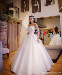 Wholesale wedding dresses india resale online - White Ball Gown Satin Empire Waist African Wedding Dresses Styles Nigeria New Cheap vestido de casamento Bridal Gowns India