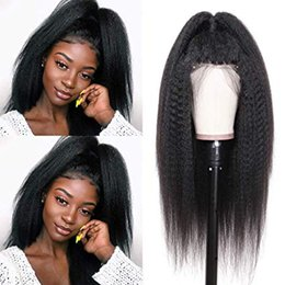 yaki human hair lace front wigs Australia - Brazilian Yaki Kinky Straight Wig 150% Density Free Part 13*6 Lace Front Human Hair Wigs for black women