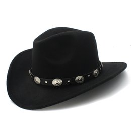 27839dd528f Wool Womem Men Western Cowboy Hat With Wide Brim Punk Belt Cowgirl Jazz Cap  With Leather Toca Gentleman Sombrero Cap 23