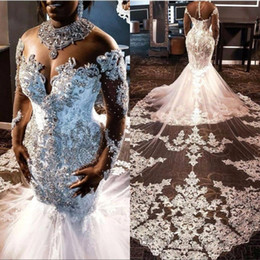 Discount long size t shirt High Collar Plus Size Africa Wedding Dresses Lace Crystal Beads Court Length Mermaid Custom Made Appliqued Long Sleeve B