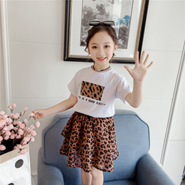 Leopard Kids T Shirts Australia - Summer Baby Girls Clothes 2pcs Sets Casual Short-Sleeved T-Shirt + Leopard Print Chiffon Skirt Suit Baby Girls Clothes Kids Clothing