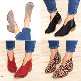 Red Suede Booties Women Australia - 2019 Women Fashion Suede Ankle Boots Shoes Ladies Thick Heel Vintage PU Leather Shoes Gladiator Booties Leopard Print Shoes Plus Size