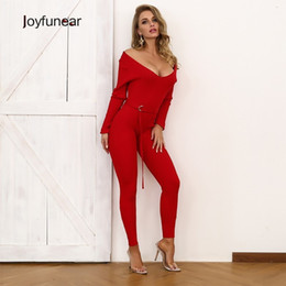 ankle length jumpsuit NZ - wholesale Red Long Sleeve Sexy Overalls For Women Sashes Knitted Jumpsuit Overalls Female Skinny Ankle-length Rompers Jumpsuit