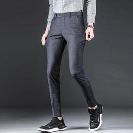 4465ff24051 2019 Summer Suit Plaid Pants Men Business Slim Fit Mens Trousers Zipper Formal  Mens Skinny Dress Pants Pantalones Hombre Vestir