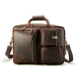 $enCountryForm.capitalKeyWord Canada - Messenger Briefcase Men Brown Genuine Leather Bagpacks Leather Shoulder Bags Travel Backpack with Cheap Price and Top Quality