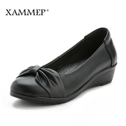women office clothing Australia - With Platform Cunhas Women's Genuine Leather Shoes Women's High Quality Brand Shoes Women Clothes From Office Spring Autumn Xammep