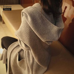 Korean women winter long coat online shopping - Sweater cardigan women long hooded plus size Xl winter clothes korean style ladies coat harajuku outwear knitted spring coats SH190912