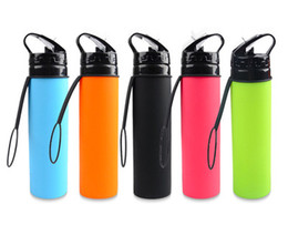 $enCountryForm.capitalKeyWord NZ - 20oz 600ml Silicone Sports Collapsible water bottle Outdoor Camping Travel Water Bottles with lid and straw folding drinking bottle 5colors