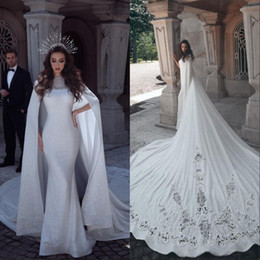Wholesale white bridal lace fabric for sale - Group buy New Collection Saudi Arabic Wedding Dress Elegant Shiny Fabric Long Tail Bridal Dresses with Cape Vestido de noiva
