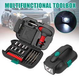 Discount kit repair tool box Car Tools Set Car Emergency Tool Box Portable Repair Tool Kit with Multifunction CLH@8