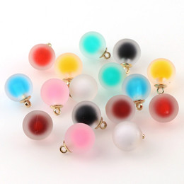 korean accessories glasses 2020 - 10piece 16mm New Korean Style Colorful Matte Glass Ball Double Color Pendant For DIY Earrings Charms Jewelry Accessories