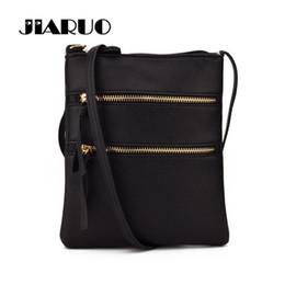 Genuine Leather Crossbody Handbags Wholesale Australia - JIARUO Multi-Pocket Double Zipper Designer Women PU Leather Shoulder Bags Satchel Handbag Purses Lady Messenger Crossbody Bag