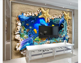vintage beach painting Australia - 3D wallpaper custom photo Silk mural wallpaper Undersea World Beach Shell Starfish 3D Stereo TV Background Wall Painting wallpaper for walls