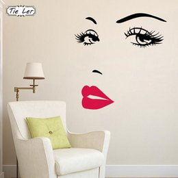 Wholesale TIE LER Sexy Girl Lip Eyes Wall Stickers Living Bedroom Decoration DIY Vinyl Decals Art Poster Home Decor