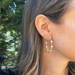 $enCountryForm.capitalKeyWord Australia - gorgeous stunning trendy women jewelry micro pave cz star with star hoop earring fashion 2019 Christmas gift