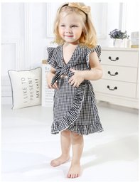 Bow Old Australia - Black Plaid Skirt Set for 3-8 Years Old Girls Summer Outfit Bow Sleeveless Top + Skirt European and American Children's Clothing Suit