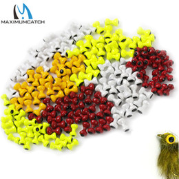 $enCountryForm.capitalKeyWord Australia - Fishing Fishing Lures Maximumcatch 25pcs lot Painted Lead Eyes Fly Tying Beads Yellow Orange Red White Dumbbell Rounded BeadsTwin Eyes