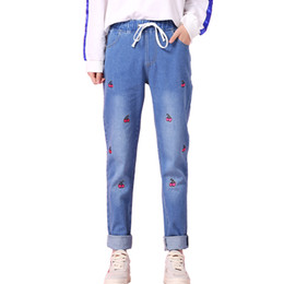 cotton cherry Australia - New Sweet Cherry Embroidery Women Jeans Harajuku Fashion Cotton Girls Trousers Loose Tight Waist Flanging Pencil Denim Pants