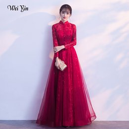 $enCountryForm.capitalKeyWord NZ - wei yin Robe De Soiree Glitter Shiny Evening Dress Full Sleeve Wine Red Evening Party High Neck Formal Long Dress WY1813