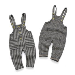 $enCountryForm.capitalKeyWord NZ - Spring Autumn Children's Clothes Girls Cotton Casual Plaid and Striped Baby Boys Overalls for Toddler Kids Jeans Korean Trousers