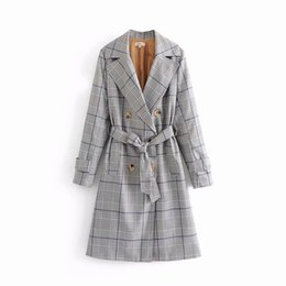 Discount trench coat lady long - 2019 Spring Autumn Trench Coat Women Double Breasted Long Plaid Trench Coat With Belt Lady Business Outwear manteau femm