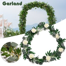 vines leaf UK - Artificial Willow Vines Twigs Leaves Garland String Green Faux Plant Wreath With Rose Flower For Wedding Doorways Outdoor Decor