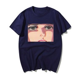 eye print fashion NZ - Sad Retro Anime Crying Eyes Vaporwave Printed T Shirt Men Summer Fashion Cotton Short Sleeve Hip Hop Tops Tshirt