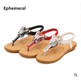 a5a5e880b Ladies Bohemia Chinese Ethnic Sandals Crystal Butter-fly Thongs Shoes  Elastic Band Back Strap Summer Flip flops Red White 41- 35