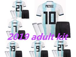 Wholesale 2019 Argentina adult Kit Soccer Jersey kit Home Soccer MESSI DYBALA DI MARIA Higuain Football Set Adult Sports Uniforms