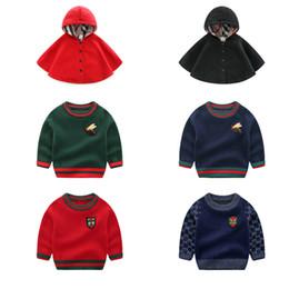 $enCountryForm.capitalKeyWord Australia - Baby Boy Warm Sweater Girls Solid 100% Cotton Autumn Winter Hooded Shawl Kids Designer Clothing Boy Striped Long Sleeve Wool Sweater 06