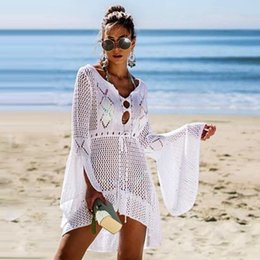 $enCountryForm.capitalKeyWord Australia - New Sexy Cover Up Bikini Women Swimsuit Cover-up Beach Bathing Suit Beach Wear Knitting Swimwear Mesh Beach Dress Tunic Robe T190710