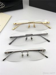 Rimless Hinged Frames Australia - Fashion brand MAYBACH prescription eyeglasses THE VISUAL rimless frame optical glasses clear lens simple business style for men