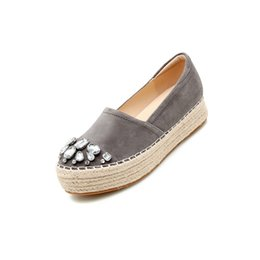 fishermen flats UK - Gray Handmade Creepers Platform Shoes Watermelon Espadrilles Women Diamond Crystal Fisherman Grey Muffin Thick Sole Flats