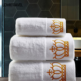 White face toWels online shopping - Embroidered Imperial Crown Cotton White Hotel Towel Set Face Towels Bath Towels for Adults Washcloths Absorbent Hand Towel