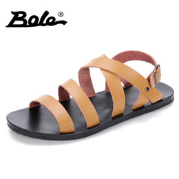 summer sandals new design 2019 - BOLE Large Size 38-46 Summer Leather Sandals Fashion New Design Flat Sandals Breathable Male Casual Shoes cheap summer s