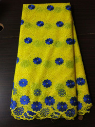 Wholesale yellow african voile lace for sale - Group buy 5 Yds pc Gorgeous yellow embroidery african cotton fabric and blue flower design swiss voile lace for clothes BC151