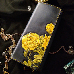 Handmade leatHer ladies wallets online shopping - Handmade Yellow Wild Rose Wallets Lady Purses Women Long Clutch Vegetable Tanned Leather Wallet Card Holder