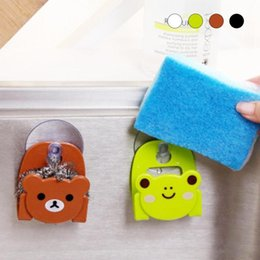 $enCountryForm.capitalKeyWord NZ - Cute Kawaii Sponge Drain Shelf Bag Cartoon Bear Wall Mounted Type Bath Storage Box Animal Cat Soap Bar Holder Kitchen Tools