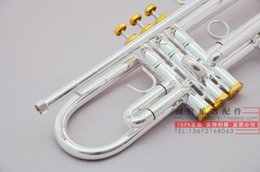 silver professional trumpet UK - Vincent Shrotenbach Stradivarius Professional Bb Trumpets LT180S-43 Silver Plated Gold Key Trumpet Mouthpiece Accessories Case