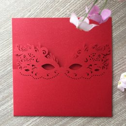 $enCountryForm.capitalKeyWord Australia - 50PCS  lot Wholesale Mask Pattern Invitations Card With Wedding Invitation Fancy Dress Party Carnival Grand Events Supplies