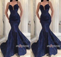 Navy Straps Australia - Stunning Navy Blue Mermaid Prom Dresses 2019 Sexy Spaghetti Straps Appliques Floor Length Women Pageant Occasion Gowns Formal Evening Dress