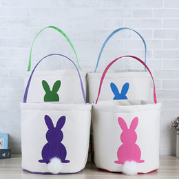 Wholesale 2019 INS Easter Bunny Baskets DIY Rabbit Bags Bunny Storage Bag Jute Rabbit Ears Basket Easter Gift Bag Rabbit Ears Put Easter Eggs