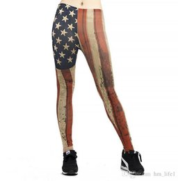 efcba50e2f4f7 Women Yoga trousers pants Digital printing American flag lattice Tights  Female High waist dance active Leggings Skinny silm Fitness