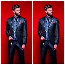 $enCountryForm.capitalKeyWord Australia - 2020 New Elegant Groom Men Suits For Wedding Slim Fit One Button Groomsmen Tuxedos Two Pieces Handsome Business Suit (Jacket+Pants+Vest)