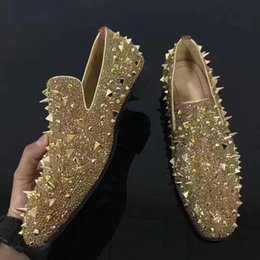 $enCountryForm.capitalKeyWord Australia - Slip On gold spikes rhinestone Shoe Red bottoms Low Cut Sneaker For Men shoes casual Messy rivet models Flat Loafers