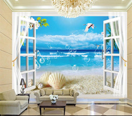 house window stickers Canada - custom size 3d photo wallpaper living room bed room mural window beach white pigeon 3d picture sofa TV backdrop wallpaper non-woven sticker