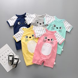 V Cute Jumpsuits Australia - 2019 Summer Style Baby Jumpsuit 100% Cotton 5 Color Cute Cartoon Baby Girl Newborn Pajamas Jumping Baby Costume