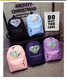 $enCountryForm.capitalKeyWord Australia - 5styles Women Laser Diamond Printed Canvas backpack Holographic Shoulder Zipper School Bag travel outdoor simple school bag FFA614 5pcs
