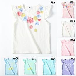 Discount flower girl tee shirts - summer baby girls cotton t shirt kids flower heart printed tops ruffle sleeve children cartoon tees cute clothes B11
